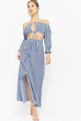 Forever 21 Gingham Off-the-Shoulder Crop Top & Button-Front Maxi Skirt Set