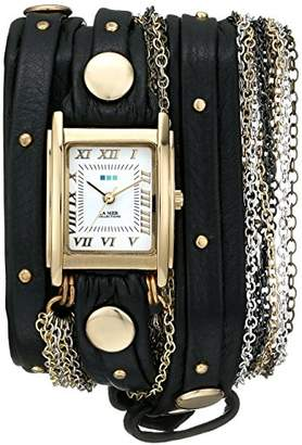 La Mer Women's LMDUOSTUD001 Venice Gold-Tone Watch with Wraparound Black Leather Band