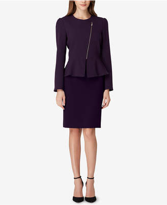 Tahari ASL Zippered Peplum Skirt Suit