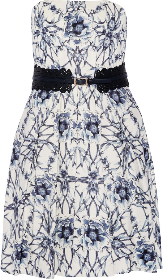Marchesa Notte Belted printed cotton and silk-blend mini dress