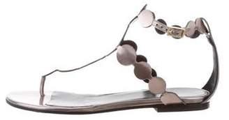 Pierre Hardy Metallic T-Strap Sandals