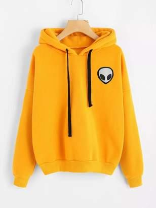 Shein Drop Shoulder Alien Print Hooded Sweatshirt
