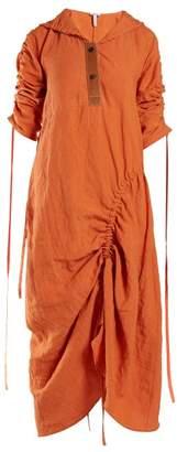 Loewe Asymmetric Ruched Poplin Dress - Womens - Orange