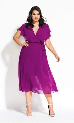City Chic Citychic Softly Tied Dress - amethyst