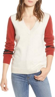 Treasure & Bond Stripe V-Neck Sweater