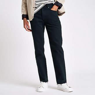 River Island Dark blue raw hem straight leg jeans