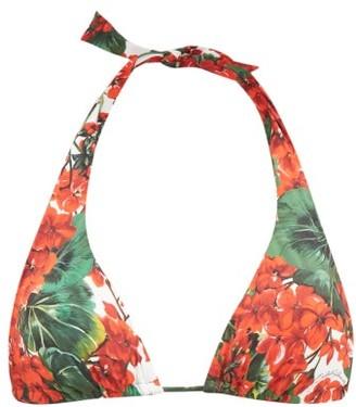 Dolce & Gabbana Portofino Floral Print Halterneck Bikini Top - Womens - Red Print