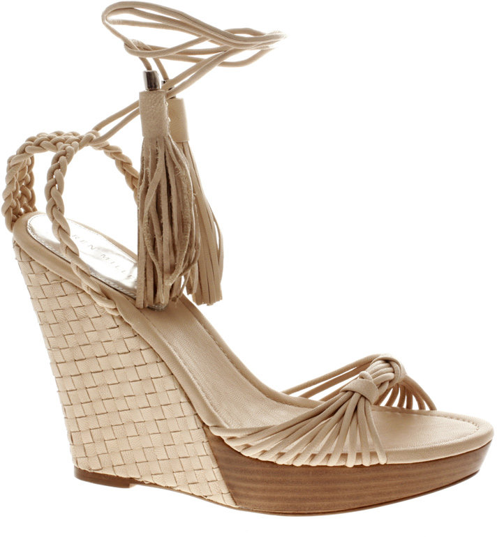 Karen Millen Woven Leather Extreme Wedge Sandals