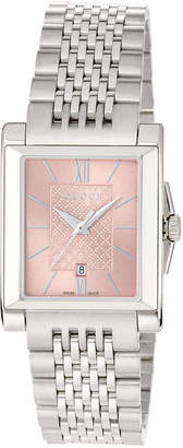 Gucci G-Timeless Rectangle Stainless Steel Bracelet Watch w/ Pink Dial