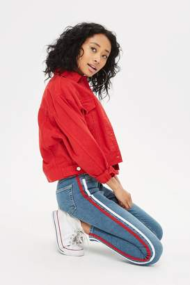 Topshop MOTO Red Side Stripe Jamie Jeans