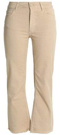 Sandro Paris Cropped Frayed High-Rise Bootcut Jeans