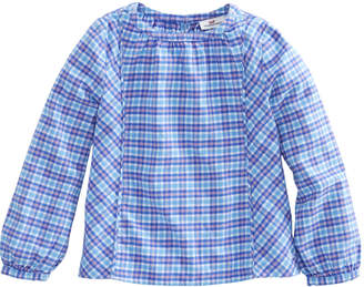 Vineyard Vines Girls Morgan Way Plaid Flannel Top