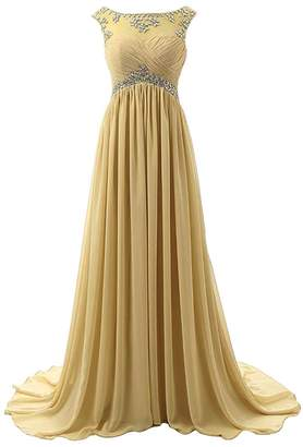 Anlin Long Strapless Ruched Chiffon Prom Evening Dresses with Rhinestone Beaded US