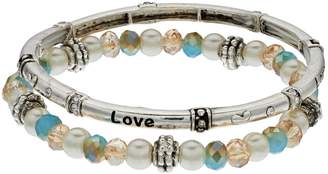 """Believe In Beaded """"Love"""" Stretch Bracelet Set"""