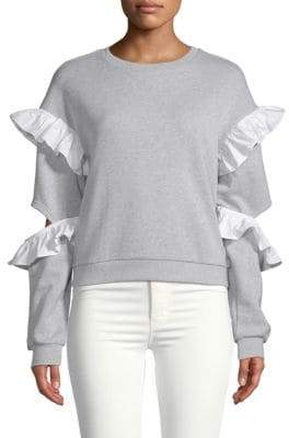 ENGLISH FACTORY Ruffle-Trimmed Heathered Sweater
