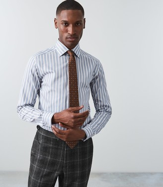 Reiss Our last order date for Christmas has now passed ANTONIO SLIM FIT BLOCK STRIPED SHIRT Blue