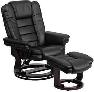 Flash Furniture Contemporary Leather Recliner and Ottoman with Swiveling Mahogany Wood Base