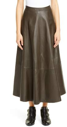 Co Lambskin Leather Midi Skirt