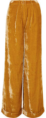 Mugler - Velvet Wide-leg Pants - Saffron $1,010 thestylecure.com