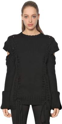 Alexander McQueen Lace-Up Chunky Knit Wool Sweater