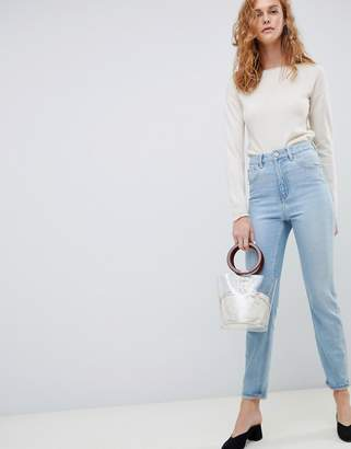 Asos Design DESIGN Farleigh high waisted slim mom jeans in light blue