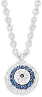Judith Ripka La Petite Sterling Silver Black & Blue Sapphire and White Topaz Evil Eye Pendant Necklace