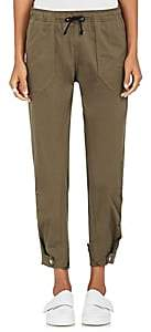 Tim Coppens WOMEN'S DRAWSTRING-WAIST STRETCH-COTTON CARGO PANTS - MILITARY SIZE M