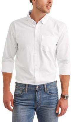 Cherokee Big Men's Cotton Oxford Long Sleeve Button Down Shirt