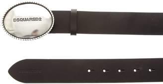 DSQUARED2 Black Leather Engravered Belt