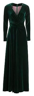 Talbot Runhof Women's Long Sleeve Velvet Gown