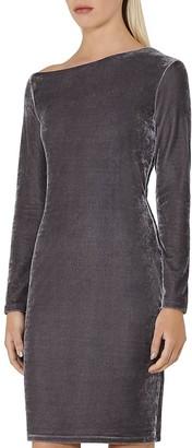 REISS Xeni Asymmetric Velvet Dress $305 thestylecure.com