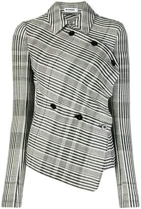 Jil Sander Glen check asymmetric jacket