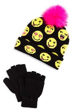 Capelli Girls' Smile Emoji Beanie & Gloves Set