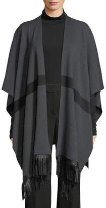 St. John Milano Knit Striped Wrap w/ Leather Fringe