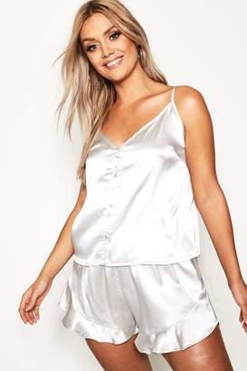 boohoo Plus Button Down Cami Frill Hem Pyjamas