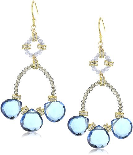 Diane Yang Sapphire Quartz Drop Chandelier Earrings