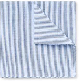 Oliver Spencer Conroy Striped Melange Cotton Pocket Square