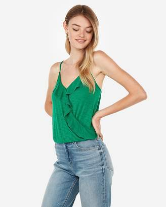 Express One Eleven Ruffle Front Banded Surplice Cami