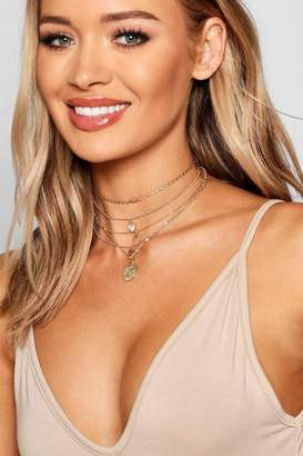 boohoo Coin & Wishbone Layered Necklace
