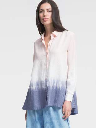 DKNY Long-Sleeve Linen Ombre Button-Up