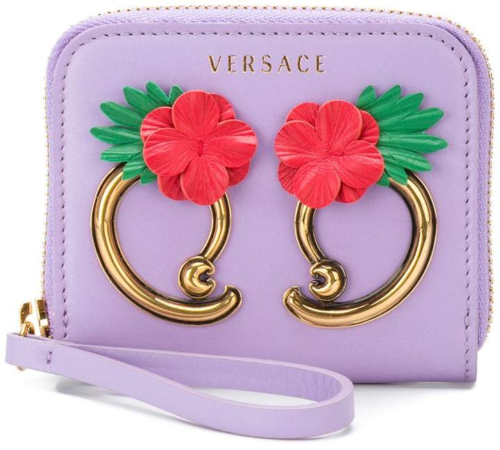 Versace flower appliqué wallet