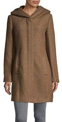 Cole Haan Textured Wool-Blend Hooded Coat