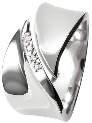 Hot Diamonds Pave Leaf Silver And Diamond Ring - Size O