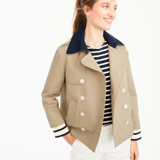 Cropped trench coat with detachable striped cuffs $158 thestylecure.com