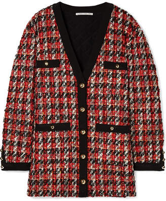 Alessandra Rich - Oversized Bouclé-tweed Cardigan - Red