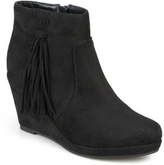 Brinley Co. Women's Faux Suede Tassel Round Toe Wedge Boots