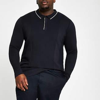 River Island Big and Tall navy long sleeve polo shirt
