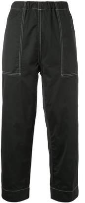 Bassike straight leg stitch detail trousers