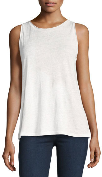 Theory Theory Roll-Stitch Airy Linen Tank Top, White
