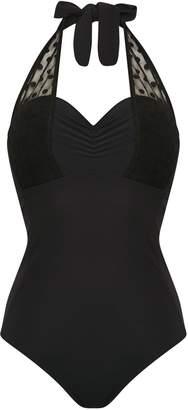 f129ab2443b7a Next Womens Figleaves Spot Mesh Underwired Halter Longer Length Swimsuit